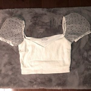 2/$25 Zara Puff Sleeved Crop Top